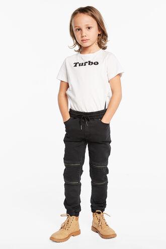 JASPER ZIP PANT in colour JET BLACK