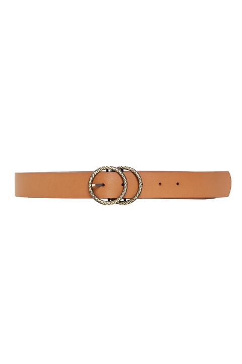 SNAKE DOUBLE CIRCLE BELT in colour TAN