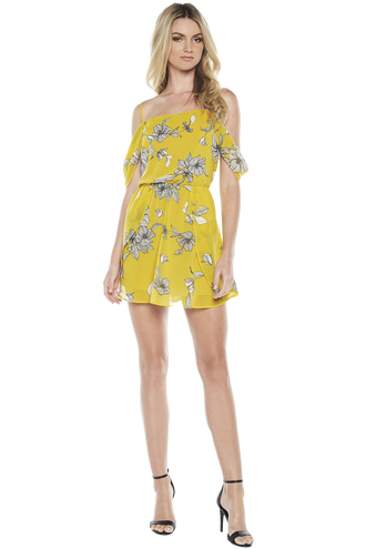 VENICE PRINT DRESS in colour DANDELION