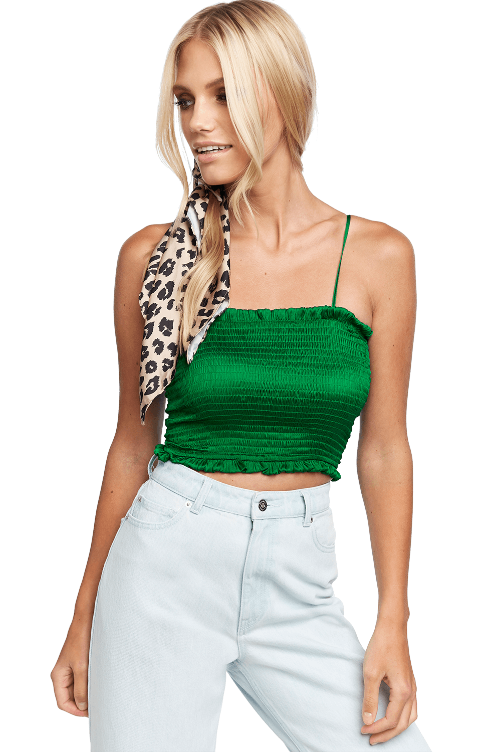 SHAYNA SHIRRED TOP in colour CLASSIC GREEN