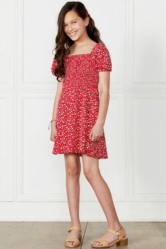 HOLLY SHIRRED DRESS in colour RIBBON RED