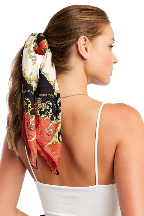 SCARF PRINT HAIR TIE in colour METEORITE