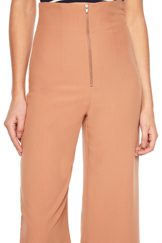 STEF WIDE CROP PANT in colour COPPER BROWN