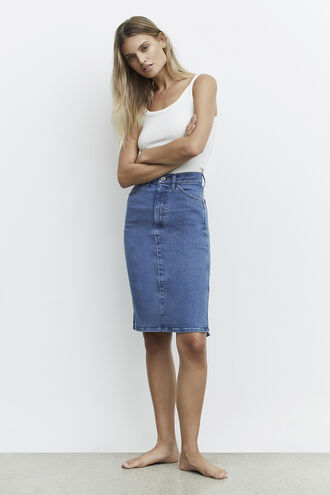 MARLEY DENIM SKIRT in colour TRUE NAVY