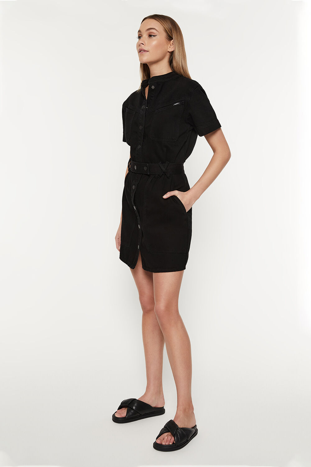 STACEY DENIM DRESS in colour PEWTER