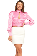 LOUISE TIE TOP. in colour CRADLE PINK