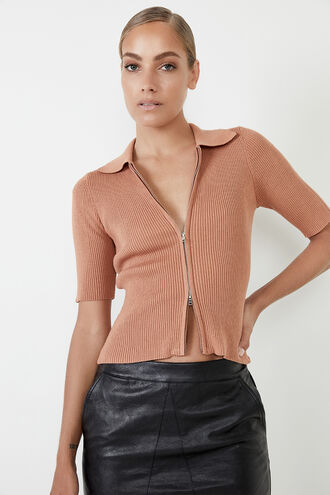 ZIP THROUGH KNIT TOP in colour CAF� AU LAIT