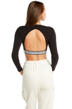 OPEN BACK CROP TOP in colour CAVIAR