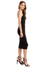 LOW BACK ROUCHE DRESS in colour CAVIAR