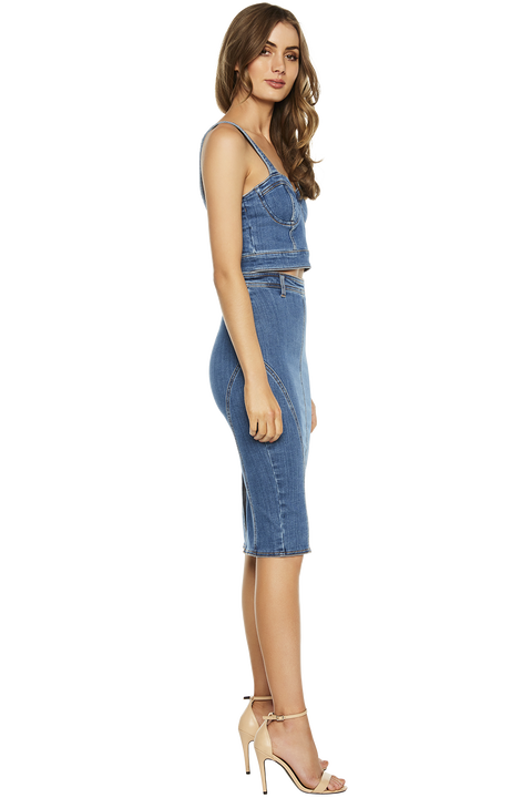 MIA DENIM BUSTIER in colour CITADEL
