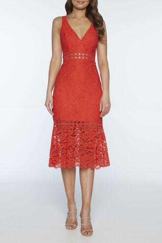 FIONA TRUMPET DRESS in colour GRENADINE