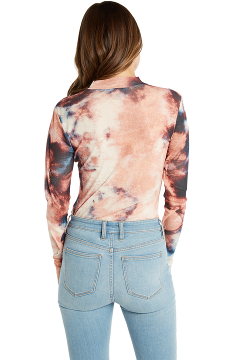 MESH TIE DYE TOP in colour PEACH MELBA