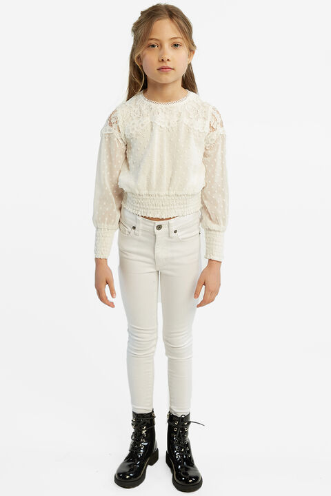SIENNA MID RISE JEAN in colour CLOUD DANCER