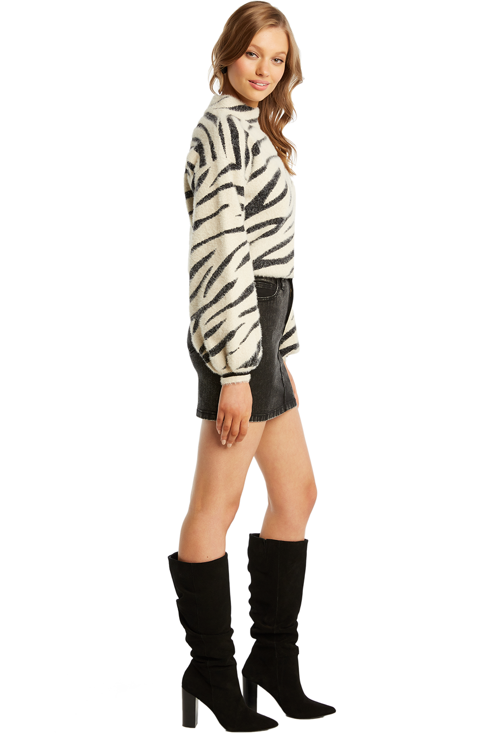 ZEBRA FUNNEL NECK JUMPER in colour WIND CHIME