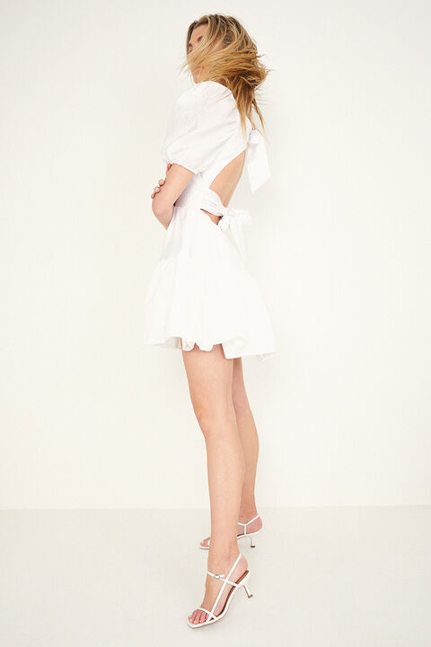 MINI TIERED BOW BACK DRESS  in colour BRIGHT WHITE