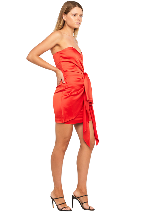 HILARY MINI DRESS in colour HIGH RISK RED