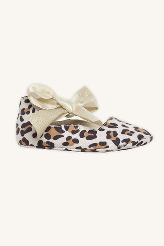 LEOPARD BOW BABY SHOE in colour ANTELOPE