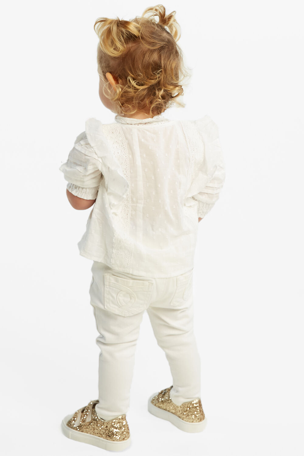 BABY GIRL lucy trim blouse in colour CLOUD DANCER