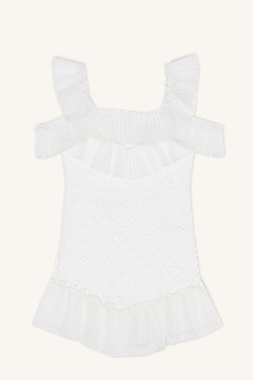 SOPHIE LACE DRESS in colour CLOUD DANCER