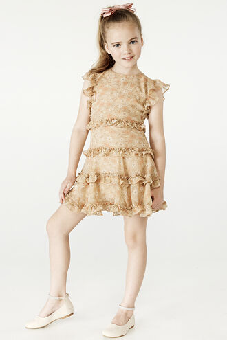 MARYAM FRILL DRESS in colour CREAM TAN