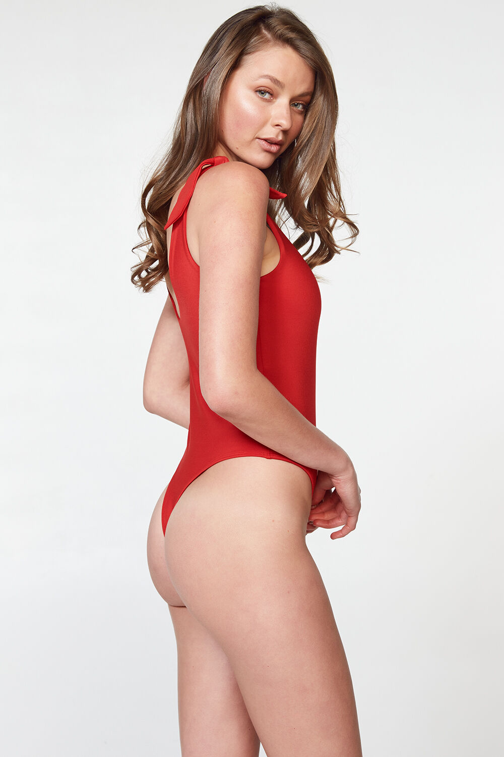 BOW TIE BODYSUIT in colour CRIMSON