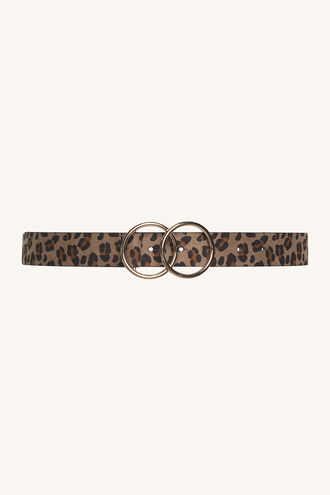 LEOPARD DOUBLE RING BELT in colour ANTELOPE