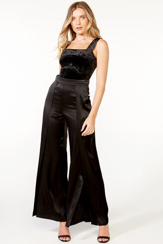 SPLIT LEG SATIN PANT in colour CAVIAR