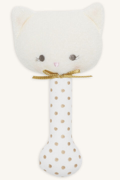 KITTY STICK RATTLE 14CM in colour GOLD EARTH