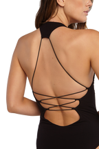 CROSS BACK BODYSUIT in colour CAVIAR
