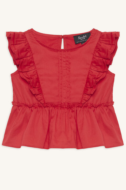 baby girl isola ruffle top in colour LOLLIPOP