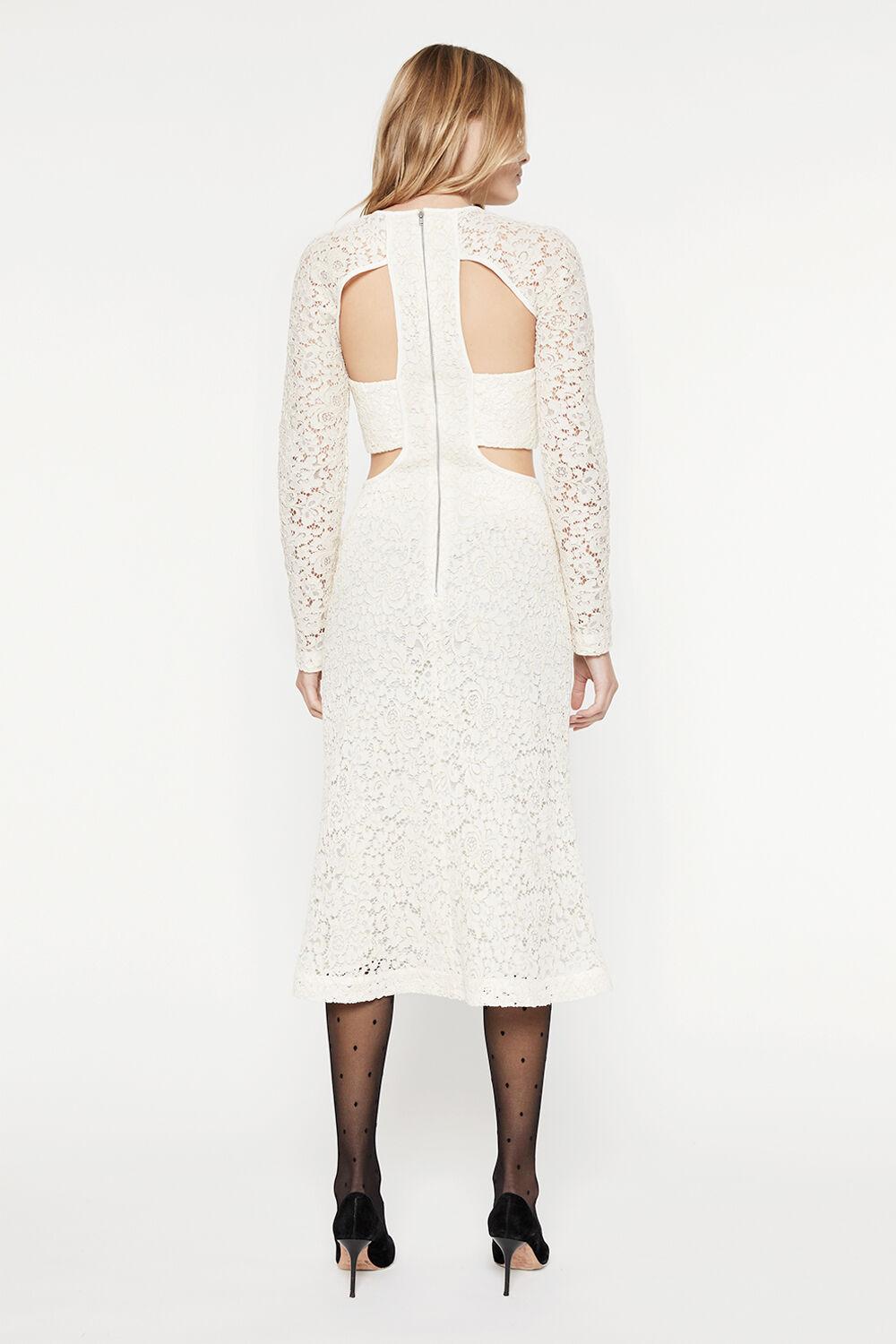 CUT OUT LACE PANEL DRESS  in colour RAINY DAY