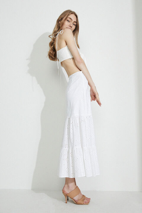 BRODERIE SKIRT in colour CLOUD DANCER
