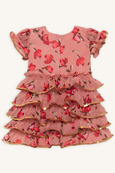 ROSIE RA RA DRESS in colour ROSE DAWN