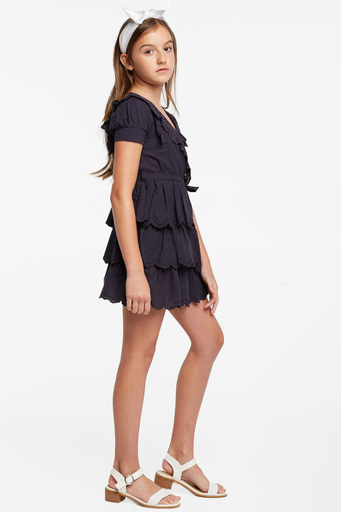 CINDY BRODERIE DRESS in colour PEACOAT