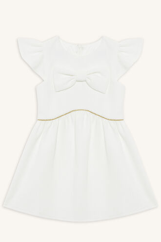 WAFFLE BOW DRESS in colour GARDENIA