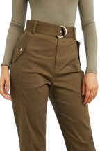CARGO BELT PANT in colour BURNT OLIVE