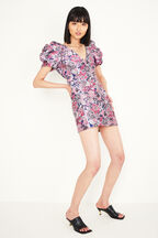 FLORAL PUFF SLEEVE DRESS in colour HYACINTH VIOLET