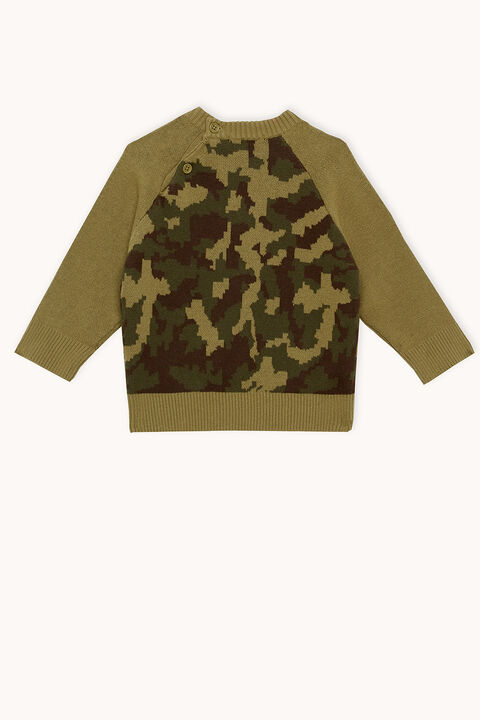 CAMO KNIT JUMPER in colour BURNT OLIVE