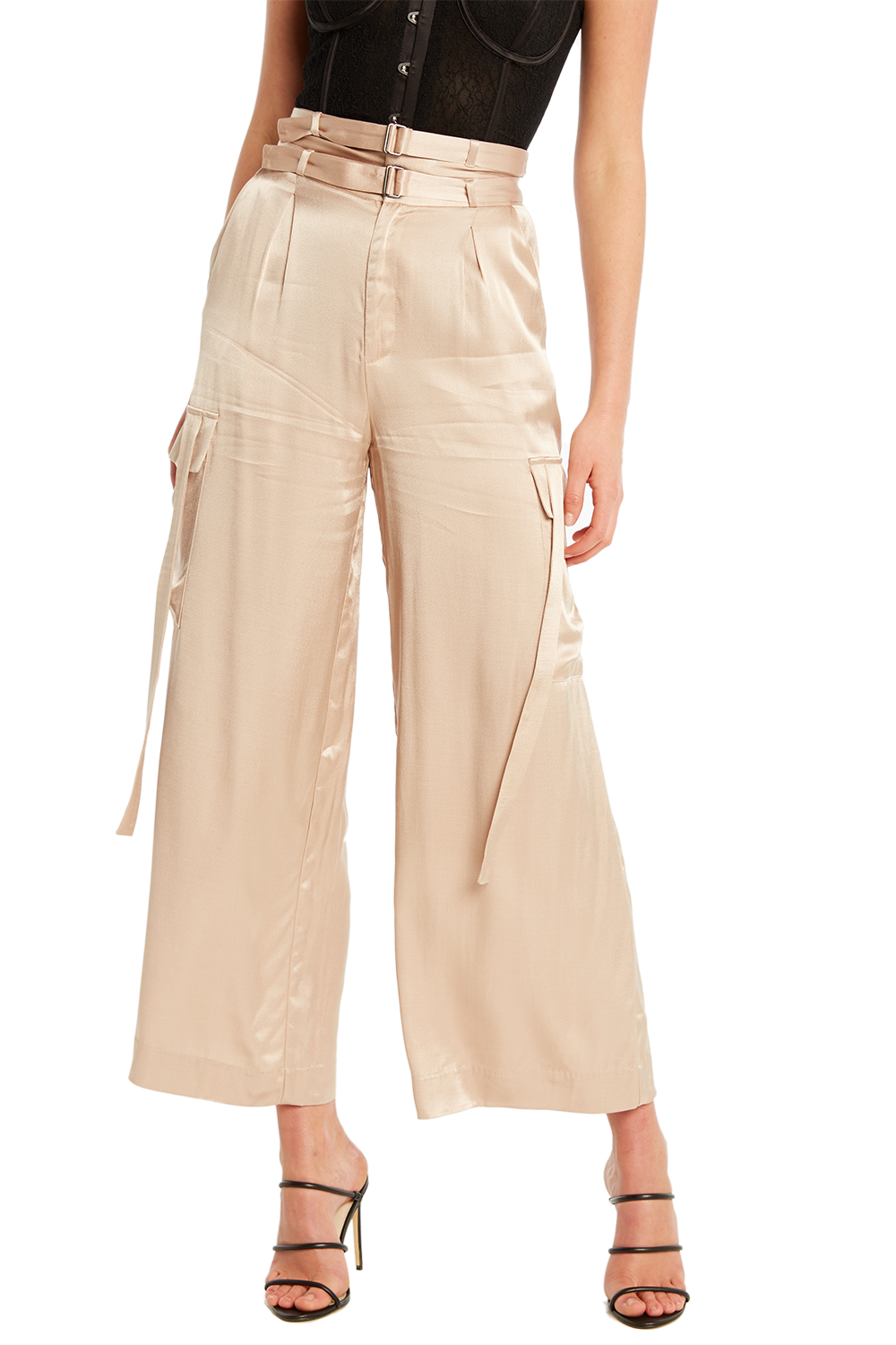 SATIN CARGO PANT in colour MOONLIGHT
