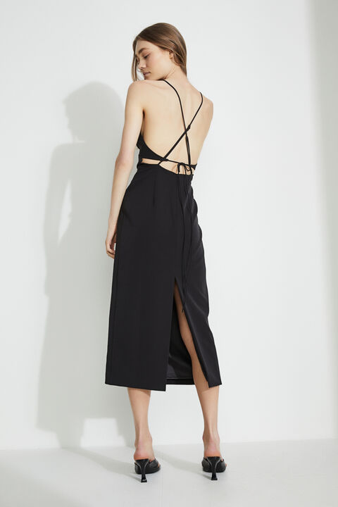 ALL ABOUT THE BACK MIDI DRESS in colour CAVIAR