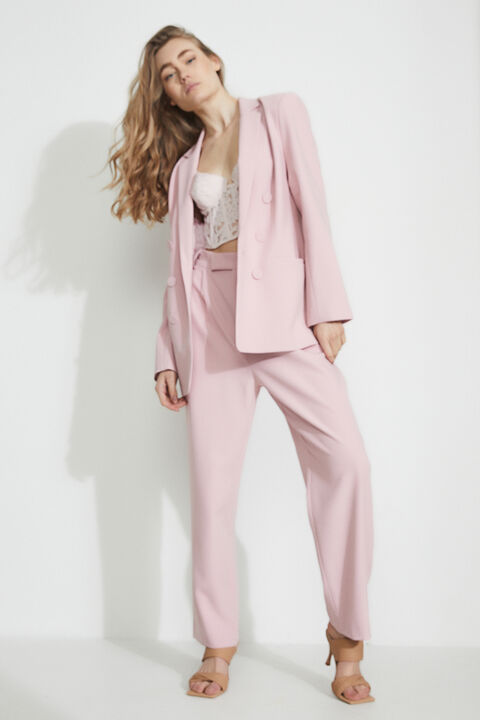 TUCK FRONT TROUSER  in colour CREAM PINK