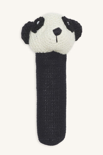 PANDA HAND RATTLE in colour METEORITE