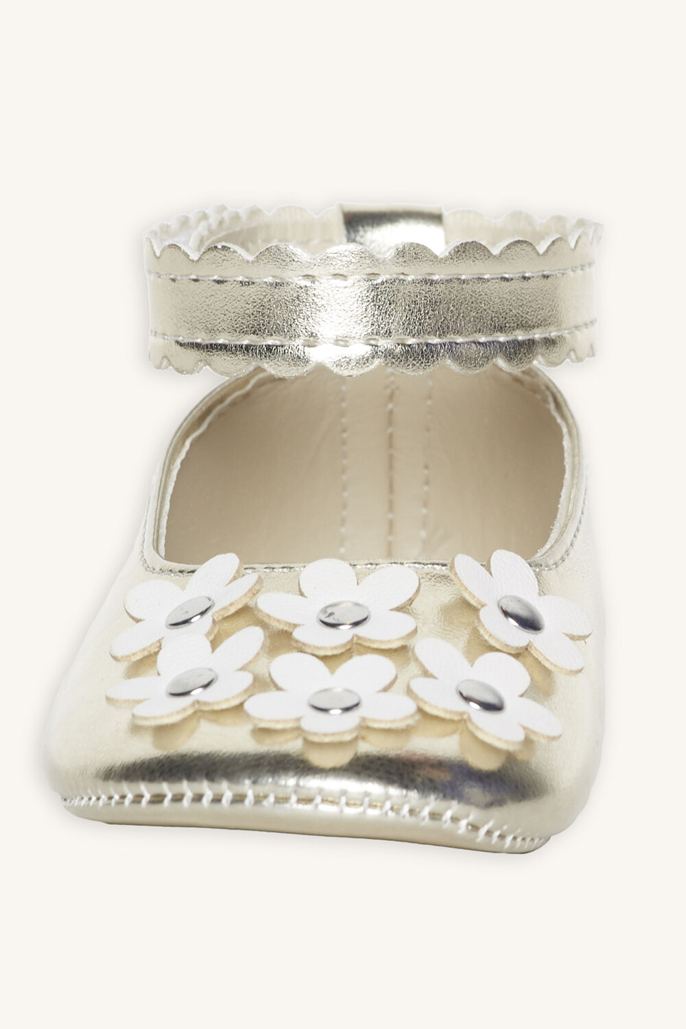 FLOWER EMBELLISHED BABY SHOE in colour GOLD EARTH