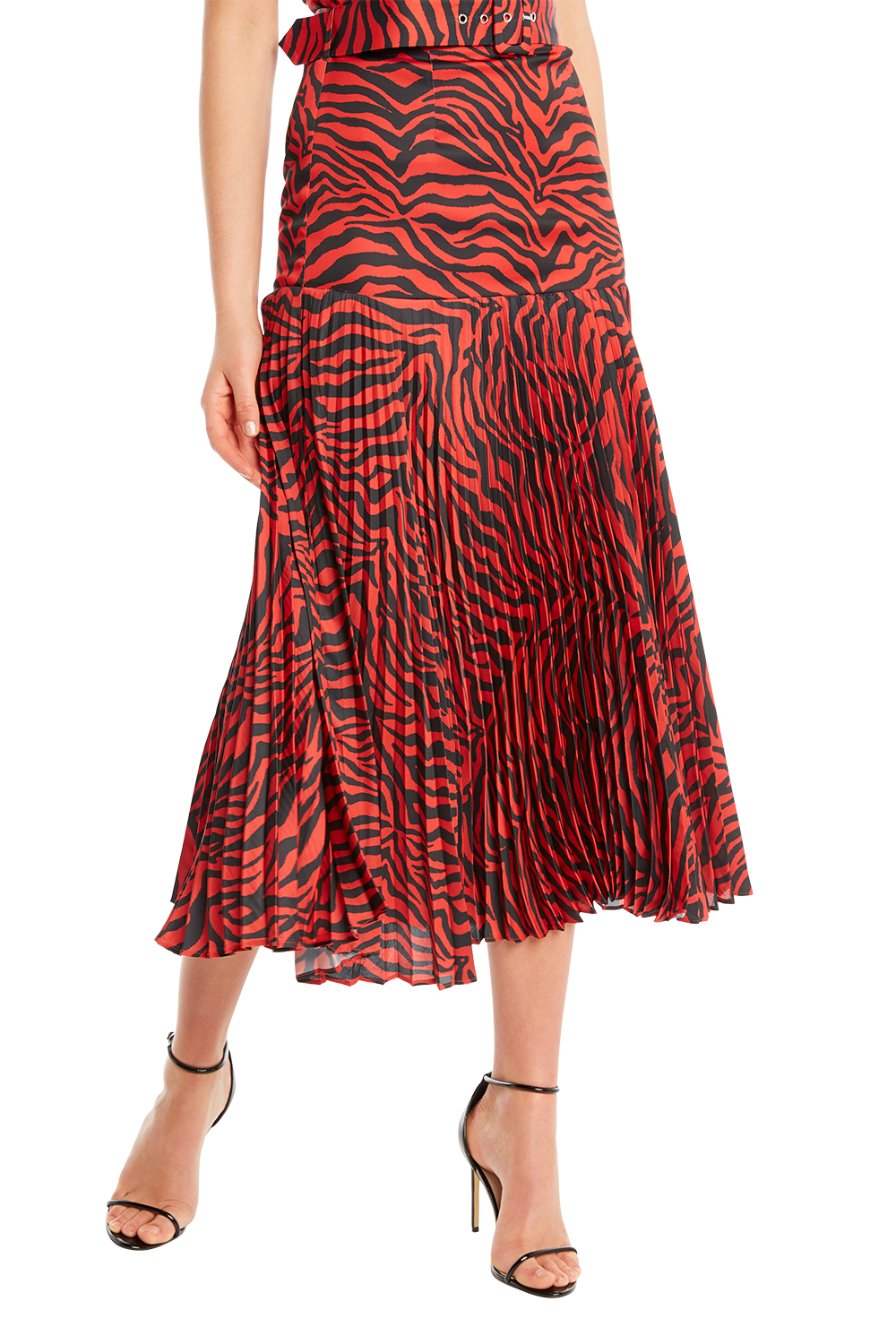 BUCKLE PLEATED SKIRT in colour RIBBON RED