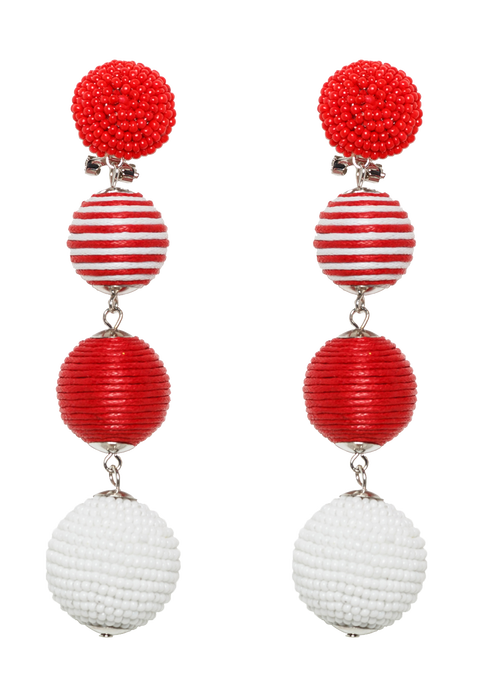 MULTI BEAD BALL EARRINGS in colour RED BUD