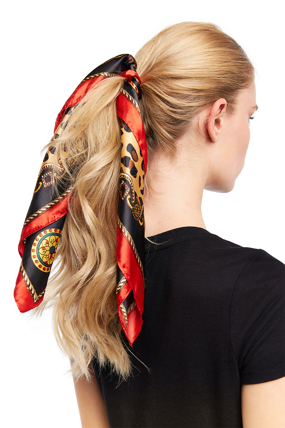 LEOPARD HAIR SCARF TIE in colour RED BUD