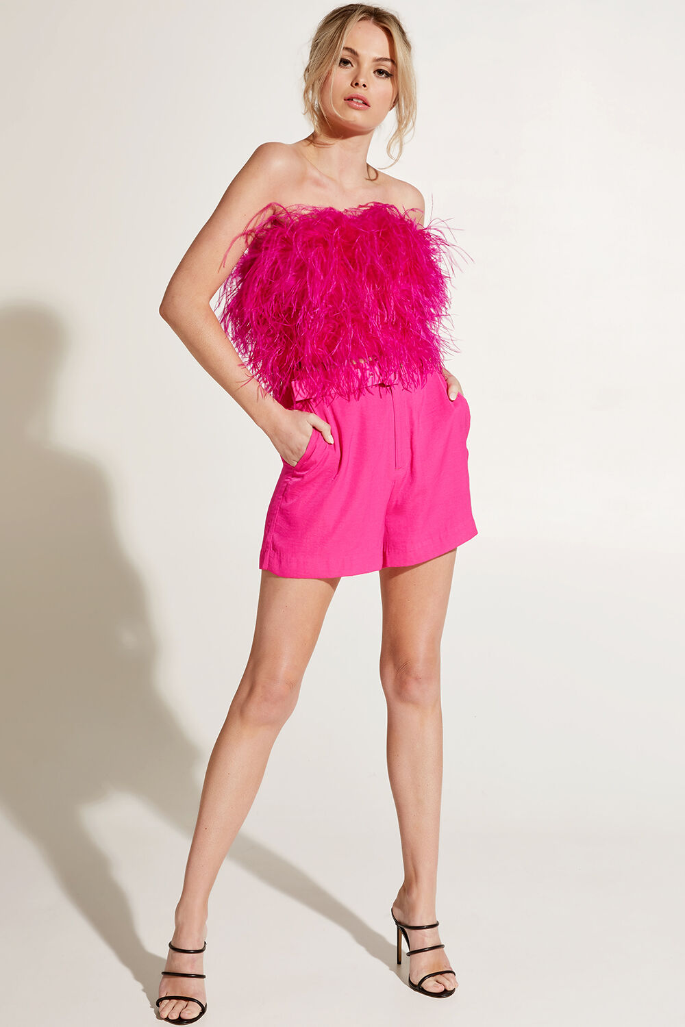 FEATHER BUSTIER TOP in colour BEETROOT PURPLE
