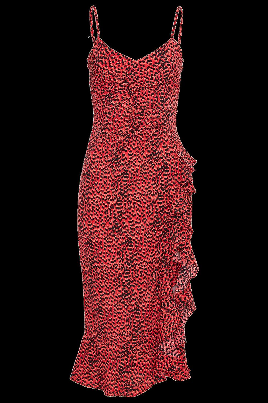 LEXIE MIDI DRESS in colour TOMATO
