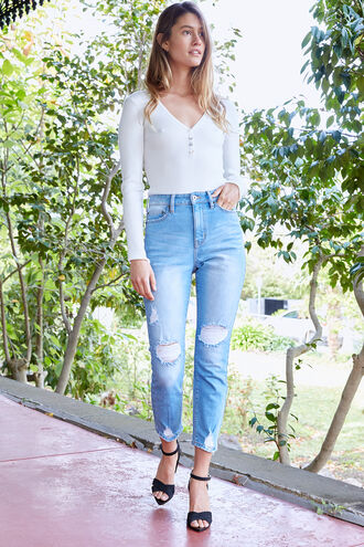 SIENNA SUPER HIGH JEAN in colour BRIGHT WHITE