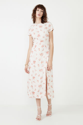 THE FLORAL MIDI DR in colour PEARLED IVORY